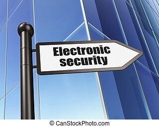 印, 電子, セキュリティー, 上に, 建物