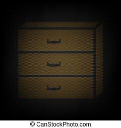 印。, 電球, illustration., nightstand, 小さい, 格子, ライト, オレンジ, ...