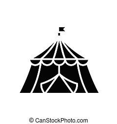 印。, 黒, サーカス, 平ら, アイコン, イラスト, シンボル, 概念, ベクトル, glyph