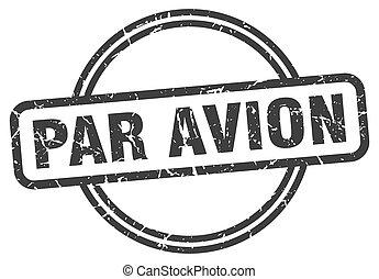 印。, avion, ラウンド, パー, グランジ, 型, stamp.