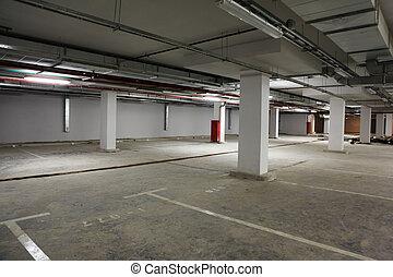 印, cars., 場所, premise, 駐車, 空, 建物。