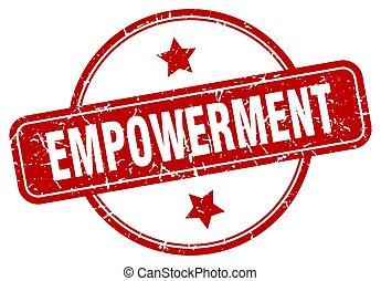 印。, empowerment, ラウンド, グランジ, 型, stamp.