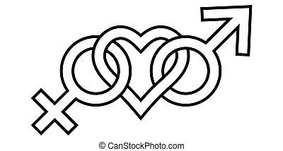 印, lgbt, アイコン, 愛 中心, ベクトル, 人, 性, 女, 全盛, bisexuality, 接続される, シンボル