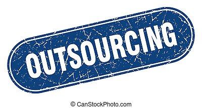 印。, outsourcing, ラベル, stamp., 青, グランジ