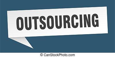 印。, outsourcing, リボン, bubble., 旗, スピーチ