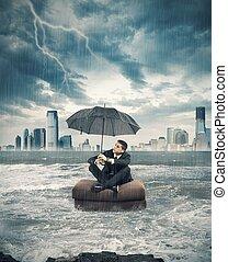 危機, 嵐, 中に, ビジネス
