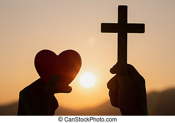 危機, 情事, 女, 神, シンボル, god., 自然, 十字架像, シルエット, 背景, 祈ること, 日の出, 生活, 概念, 手, ボール, 交差点, 保有物, faith., 心, 祈とう, 赤, キリスト教徒