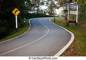 危险, 曲线, 签署, 在上, the, 山坡, 道路