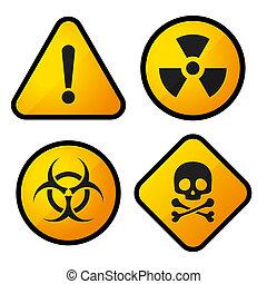危険の印, セット, 黄色, アイコン