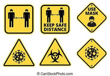 危険, セット, サイン, covid-19