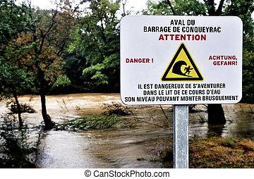 危険, ダム, 印, 水, 警告, 落ちた, 上流に
