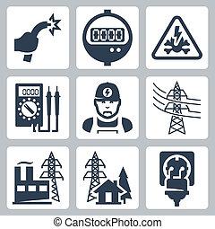危険, プラグ, 力, アイコン, 供給, ワイヤー, 産業, メートル, 電気技師, 印, bared, ベクトル, マルティメーター, 供給, 線, 容器, set:, 植物