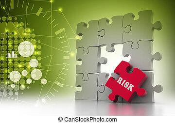 危険, 困惑, 赤, 小片, concept:, 金融