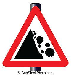 危険, 落ちる, 印, 交通, 岩