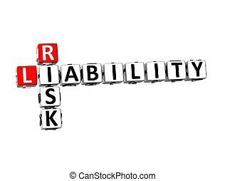 危険, 責任, クロスワードパズル, 背景, 白, 3d