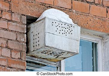 即興創作, 冰箱, 在, the, 窗口, ......的, an, 公寓
