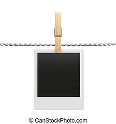 即顯膠片, 照片框架, 由于, clothespin, 被隔离, 在懷特上, backgroun