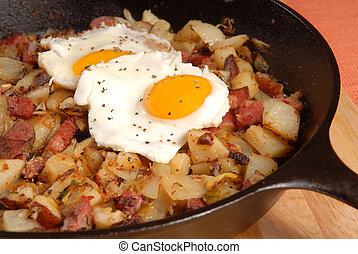 卵の朝食, ハッシュ料理, 牛肉, corned