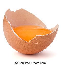 卵の殼, 隔離された, 壊される, 背景, 半分, 白卵, 切抜き