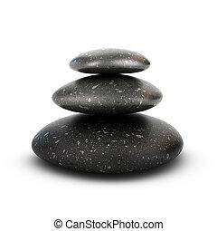 卵石, 堆积, 概念, 平静, 三