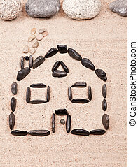 卵石, 家, 沙子, 海灘, 設計