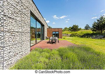 卵石, 牆, 房子, 由于, 陽台
