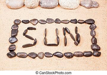 卵石, 詞, 太陽, 寫, 沙子, 海灘