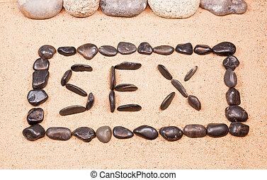 卵石, 詞, 寫, 性, 沙子, 海灘