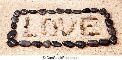 卵石, 詞, 寫, 沙子, 愛, 海灘