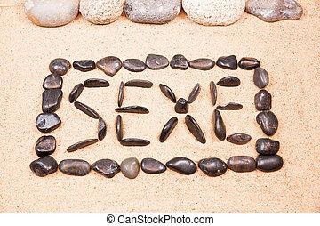 卵石, 詞, sexe, 寫, 沙子海灘