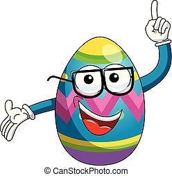 卵, の上, 隔離された, 指, 飾られる, ガラス, イースター, nerd, マスコット