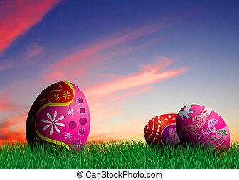 卵, イースター, カラフルである, イラスト