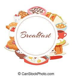 卵, クロワッサン, ポスター, ベーコン, ホテル, illustration., オートミール, 旗, 平面図, ベクトル, 朝食, メニュー, ワッフル, 揚げられている