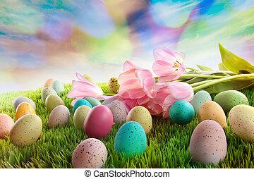 卵, チューリップ, イースター, 虹, 草, 空
