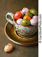卵, チョコレート, イースター, カップ
