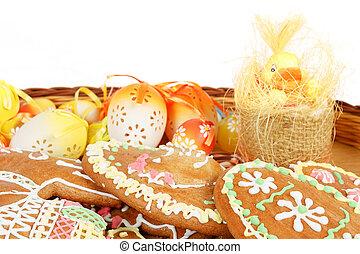 卵, パン, イースター, コレクション, ショウガ