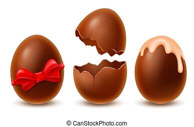 卵, 壊される, イースター, セット, チョコレート, そっくりそのまま, 艶出し, 赤い船首, 飾られる