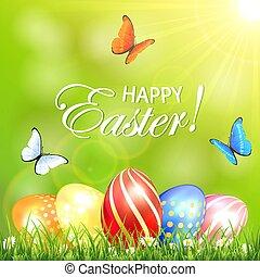 卵, 日当たりが良い, 蝶, 背景, 草, イースター