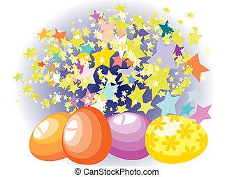 卵, 星, 背景, イースター