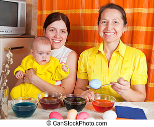 卵, 着色, イースター, 家族, 幸せ