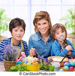 卵, 着色, 家族, 幸せ