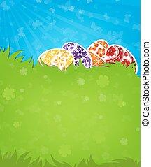 卵, 緑の採草地