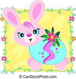 卵, 飾られる, イースターうさぎ, 幸せ