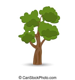 卷曲, oak., 插圖, 被風格化, 綠色, 圖畫