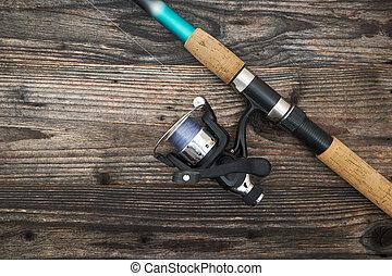 卷起, 木制, 鞭笞, 被隔离, 釣魚, 背景
