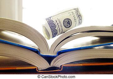 卷, 书, 打开, , 现金