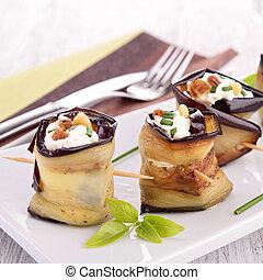 卷, 乳酪, 茄子,