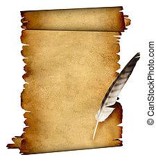 卷, 在中, 羊皮纸, 同时,, 羽毛