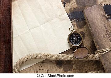 卷, 羊皮纸, 指南针