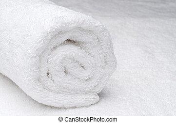 卷, spa, 白的毛巾,